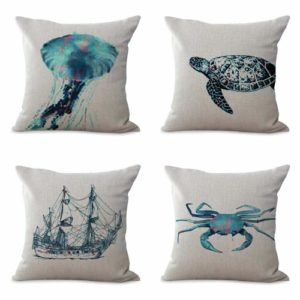 set of 4 cushion covers ocean fish crab shells Cushion covers/pillow cases in assorted designs randomly picked by us. Pillow case only, insert pillow is not included.