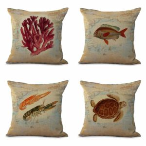 set of 4 cushion covers marine jelly fish scallop Cushion covers/pillow cases in assorted designs randomly picked by us. Pillow case only, insert pillow is not included.