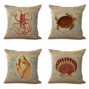 set of 4 cushion covers marine reef animal world map Cushion covers/pillow cases in assorted designs randomly picked by us. Pillow case only, insert pillow is not included.
