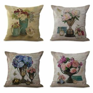 set of 4 cushion covers vintage flower Cushion covers/pillow cases in assorted designs randomly picked by us. Pillow case only, insert pillow is not included.
