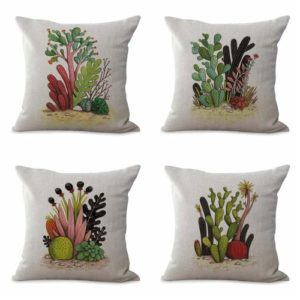 set of 4 cushion covers succulent plant flower Cushion covers/pillow cases in assorted designs randomly picked by us. Pillow case only, insert pillow is not included.
