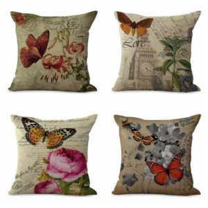 set of 4 cushion covers Eiffel Tower bird flower Cushion covers/pillow cases in assorted designs randomly picked by us. Pillow case only, insert pillow is not included.