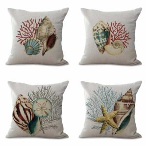 set of 4 cushion covers shell sailor beach Cushion covers/pillow cases in assorted designs randomly picked by us. Pillow case only, insert pillow is not included.