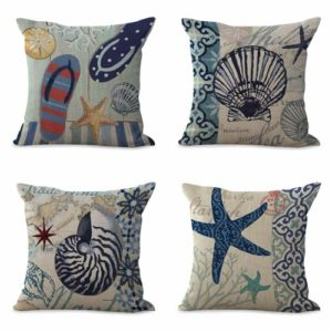 set of 4 cushion covers marine shells Cushion covers/pillow cases in assorted designs randomly picked by us. Pillow case only, insert pillow is not included.
