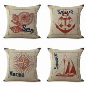 set of 4 marineseashell cushion covers Cushion covers/pillow cases in assorted designs randomly picked by us. Pillow case only, insert pillow is not included.