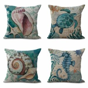 set of 4 cushion covers nautical anchor boat Cushion covers/pillow cases in assorted designs randomly picked by us. Pillow case only, insert pillow is not included.