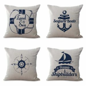 set of 4 cushion covers shipbuilders boat Cushion covers/pillow cases in assorted designs randomly picked by us. Pillow case only, insert pillow is not included.