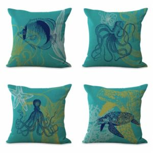 set of 4 cushion covers sea life fish turtle Cushion covers/pillow cases in assorted designs randomly picked by us. Pillow case only, insert pillow is not included.