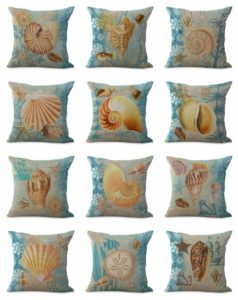 cushion covers beach seashell Cushion covers/pillow cases in assorted designs randomly picked by us. Pillow case only, insert pillow is not included.