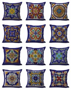 cushion covers Spanish talavera Square cushion covers/pillow cases in assorted designs randomly picked by us. Pillow case only, insert pillow is not included.