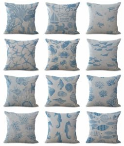cushion covers beach decor fishes Square cushion covers/pillow cases in assorted designs randomly picked by us. Pillow case only, insert pillow is not included.