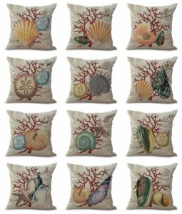 cushion covers seashell marine Square cushion covers/pillow cases in assorted designs randomly picked by us. Pillow case only, insert pillow is not included.