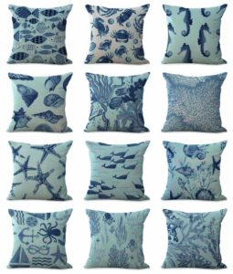 cushion covers coral crab reef Square cushion covers/pillow cases in assorted designs randomly picked by us. Pillow case only, insert pillow is not included.