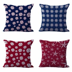 Set of 4 cushion covers patriotic America nautical Cushion covers/pillow cases in assorted designs randomly picked by us. Pillow case only, insert pillow is not included.