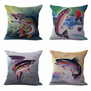 Set of 4 cushion covers flying fishing Cushion covers/pillow cases in assorted designs randomly picked by us. Pillow case only, insert pillow is not included.