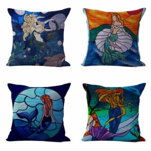 Set of 4 cushion covers stainglass mermaid Cushion covers/pillow cases in assorted designs randomly picked by us. Pillow case only, insert pillow is not included.