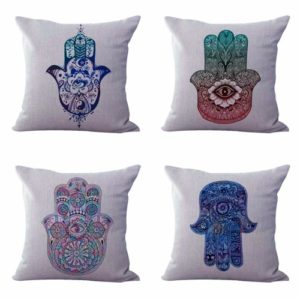 Set of 4 cushion covers hamsa hand Cushion covers/pillow cases in assorted designs randomly picked by us. Pillow case only, insert pillow is not included.