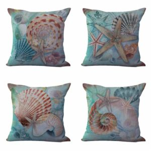 Set of 4 cushion covers seashell nautical Cushion covers/pillow cases in assorted designs randomly picked by us. Pillow case only, insert pillow is not included.