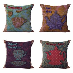 Set of 4 cushion covers teapot Cushion covers/pillow cases in assorted designs randomly picked by us. Pillow case only, insert pillow is not included.