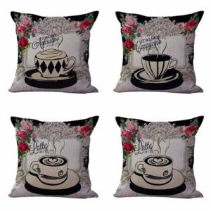 Set of 4 cushion covers tea time Cushion covers/pillow cases in assorted designs randomly picked by us. Pillow case only, insert pillow is not included.