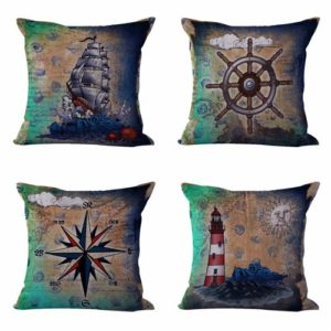 Set of 4 cushion covers compass lighthouse sailor Cushion covers/pillow cases in assorted designs randomly picked by us. Pillow case only, insert pillow is not included.