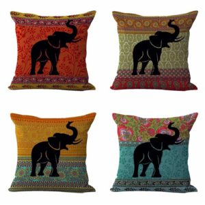 Set of 4 cushion covers lucky elephant Cushion covers/pillow cases in assorted designs randomly picked by us. Pillow case only, insert pillow is not included.