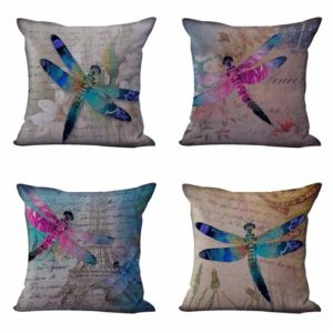 Set of 4 cushion covers Eiffel town dragonfly Cushion covers/pillow cases in assorted designs randomly picked by us. Pillow case only, insert pillow is not included.