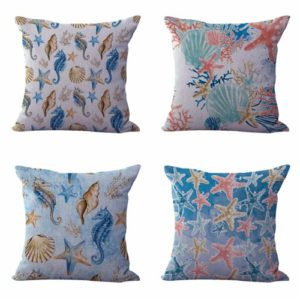 Set of 4 cushion covers coral reef shells Cushion covers/pillow cases in assorted designs randomly picked by us. Pillow case only, insert pillow is not included.