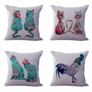 Set of 4 cushion covers shabby chic cat pet Cushion covers/pillow cases in assorted designs randomly picked by us. Pillow case only, insert pillow is not included.