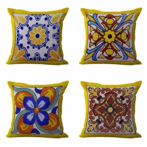 Set of 4 cushion covers Mexican Spanish talavera Cushion covers/pillow cases in assorted designs randomly picked by us. Pillow case only, insert pillow is not included