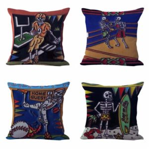 Set of 4 cushion covers sugar skull skeleton Cushion covers/pillow cases in assorted designs randomly picked by us. Pillow case only, insert pillow is not included.