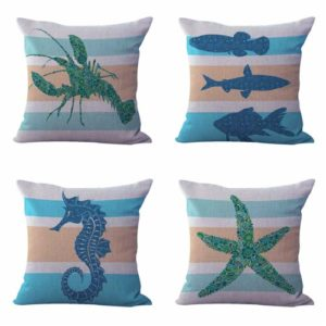 Set of 4 cushion covers fish searhorse octopus Cushion covers/pillow cases in assorted designs randomly picked by us. Pillow case only, insert pillow is not included.