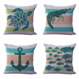 Set of 4 cushion covers anchor turtle Cushion covers/pillow cases in assorted designs randomly picked by us. Pillow case only, insert pillow is not included.