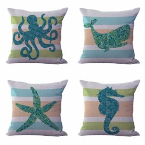 Set of 4 cushion covers whale nautical starfish Cushion covers/pillow cases in assorted designs randomly picked by us. Pillow case only, insert pillow is not included.