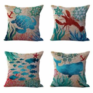 Set of 4 cushion covers scallop seashells Cushion covers/pillow cases in assorted designs randomly picked by us. Pillow case only, insert pillow is not included.