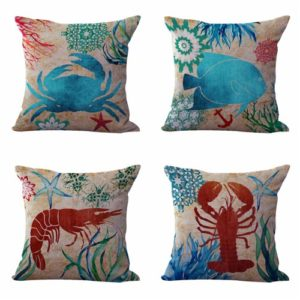 Set of 4 cushion covers seashell starfish Cushion covers/pillow cases in assorted designs randomly picked by us. Pillow case only, insert pillow is not included.