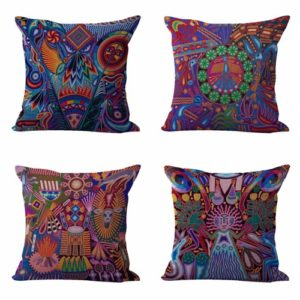 Set of 4 cushion covers Mexican folk art print Cushion covers/pillow cases in assorted designs randomly picked by us. Pillow case only, insert pillow is not included.