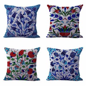Set of 4 cushion covers boho floral Cushion covers/pillow cases in assorted designs randomly picked by us. Pillow case only, insert pillow is not included.