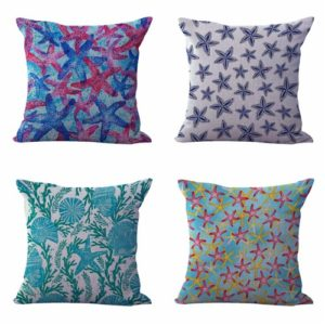 cheap decorative pillows, pillow bulk lot, decorative throw pillow cases, pillow cases in assorted designs, cushion covers coral reef, reef starfishes cushion covers
