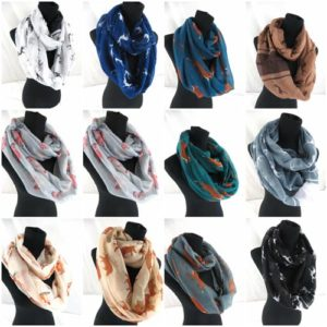 10pcs deer elk fox animal infinity scarf Soft, trendy and lightweight eternity circle neck wrap.Perfect fashion accessory for all seasons. Great gifts for friends and family.
