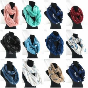 10pcs turtle dolphin sea life infinity scarf Soft, trendy and lightweight eternity circle neck wrap.Perfect fashion accessory for all seasons. Great gifts for friends and family.