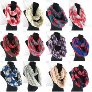 10pcs poppy flower infinity scarf Soft, trendy and lightweight eternity circle neck wrap. Perfect fashion accessory for all seasons. Great gifts for friends and family.