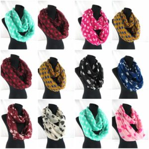 10pcs heart love infinity scarf Soft, trendy and lightweight eternity circle neck wrap. Perfect fashion accessory for all seasons. Great gifts for friends and family.