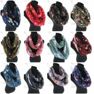 10pcs reindeer retro bird infinity scarf Soft, trendy and lightweight eternity circle neck wrap.Perfect fashion accessory for all seasons. Great gifts for friends and family.