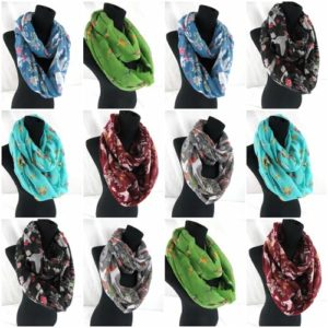 10pcs swan birds retro infinity scarf Soft, trendy and lightweight eternity circle neck wrap. Perfect fashion accessory for all seasons. Great gifts for friends and family.
