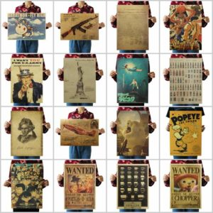 wholesale kraft paper retro posters Assorted designs include Leonardo Da Vinci Manuscripts Vitruvian Man, Declaration of Indepnedence, statue of Liberty, Wanted DOA Portgas D ACE Manga Anime, Mozart, SLAM DUNK, Anime Detective Conan, Uncle Sam recruiting world war II, Espresso coffee shop, POPEYE THE SAILOR, DORAEMON Japan Anime, Wanted DOA Reward Chopper Manga Anime , mustang fighter, Gun AKM Assault Rifle AK47, Fantastical Fictive Beers and more.Great vintage decorative wall poster for bar, coffee house, home, pub,cafe, restaurant and more. Not waterproof, without frame, non-sticky. For indoor use only.
