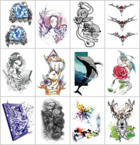 "swan whale geisha large 8.25"" half-sleeve arm tattoo Our warehouse staffs will randomly choose assorted designs shown on the pictures"