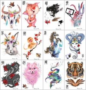 "chinese Zodiac large 8.25"" half-sleeve arm tattoo Our warehouse staffs will randomly choose assorted designs shown on the pictures"