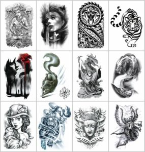 """tribe evil large 8.25"""" half-sleeve arm tattoo Our warehouse staffs will randomly choose assorted designs shown on the pictures"""
