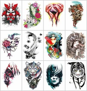 carp fish tiger death large half-sleeve arm tattoo Our warehouse staffs will randomly choose assorted designs shown on the pictures